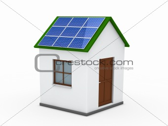 3d house solar energy green