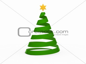 3d chritmas tree star green