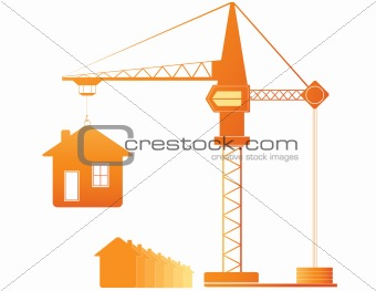 construction crane and many houses