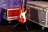 A red bass guitar