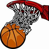 Basketball Hoop with Basketball Cartoon