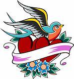 sparrow heart tattoo