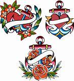 anchor symbol ribbon banner