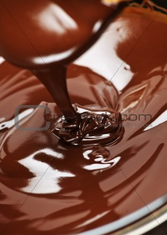Melted chocolate and spoon