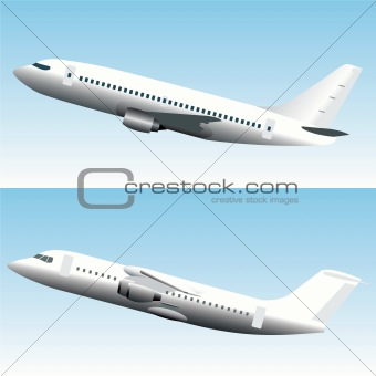 Blank Commercial Jet Airplanes Set