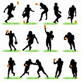 14 American Football Players Silhouettes Set