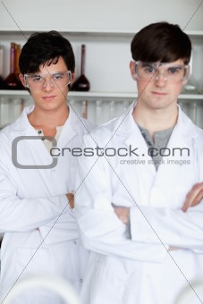 Portrait of male scientists posing