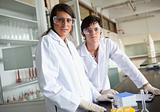 Science students wearing protective glasses