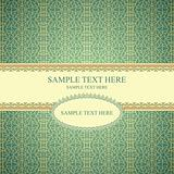 Vintage frame on seamless lace pattern on gradient background