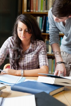 Portrait of students working on a paper