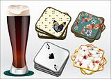 dark beer with coasters