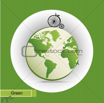 eco illustration with green earth icon