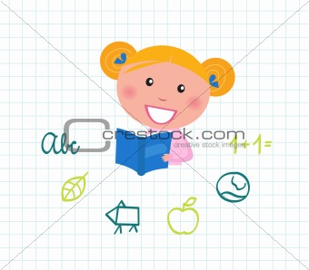 Little cute Child reading Book, School elements -