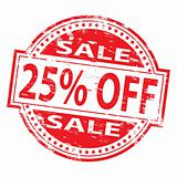 25 Percent Off  rubber stamp