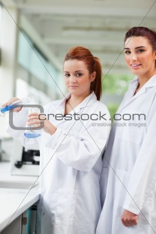 Portrait of scientists pouring blue liquid in an Erlenmeyer flask