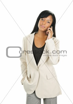 Black young businesswoman on phone