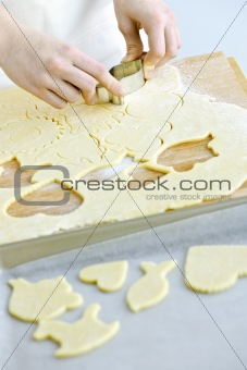 Cutting cookies from dough