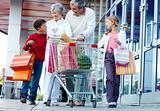 Consumers walking