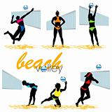 Beach volleyball players silhouettes set