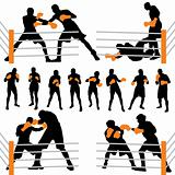 Box fighters silhouettes set