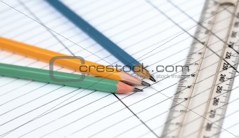 Three pencils an ruler