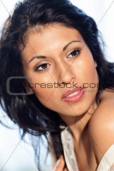 Black hair beautiful woman half total