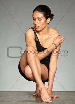 Black hair figurative woman