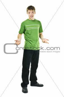 Young man shrugging