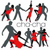 Cha-cha silhouettes set