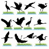 Cranes silhouettes set