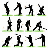 Cricket silhouettes set