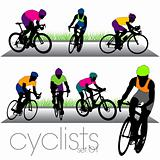 Bikers silhouettes set