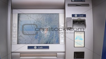 A smashed cash machine