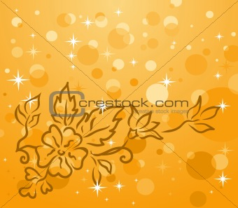 autumn background with floral branch