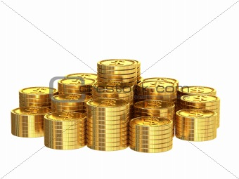 A stack of golden coins