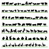 Farm animals silhouettes set 02