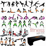 Fitness silhouettes set 01