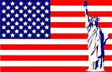 Statue of Liberty on the flag USA