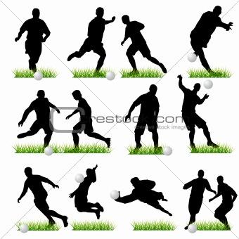 Football silhouettes set 02