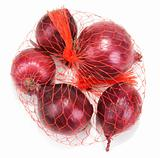 Red onion in packing from red net