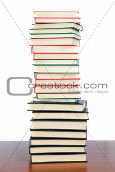 Collection of books stacked