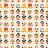cartoon people job face seamless pattern