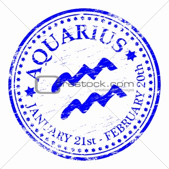 Aquarius Star Sign rubber stamp