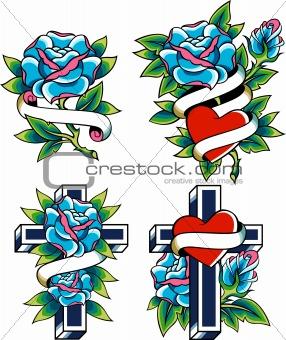 cross and rose classic emblem
