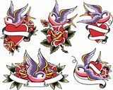 swallow tattoo icon set
