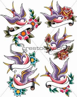 swallow tattoo icon set