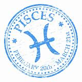Pisces Star Sign rubber stamp