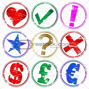 Rubber stamp symbols
