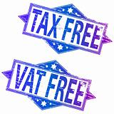 Tax Free and Vat Free rubber stamps.