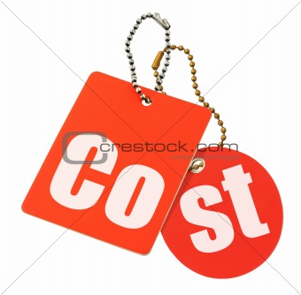 cost concept - price tags isolated